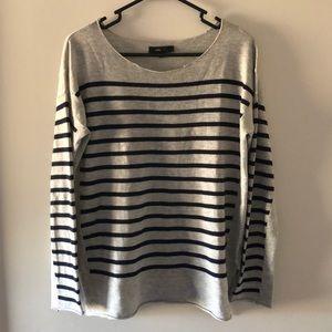 Gray / Navy Blue Striped Sweater